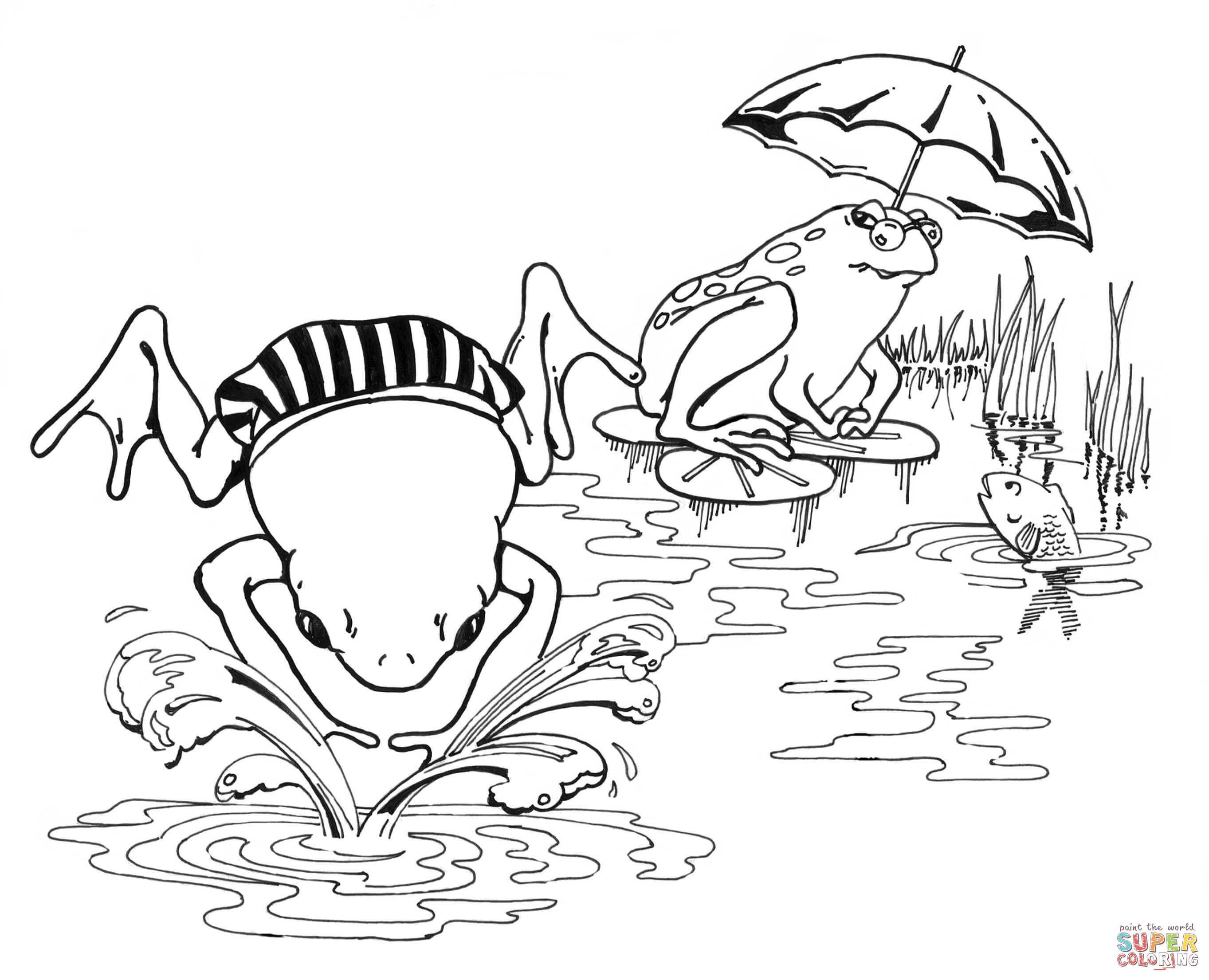 Amphibian clipart coloring page Pages Free Coloring Swimming Frogs