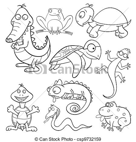 Amphibian clipart drawing Book  csp9732159 Coloring and