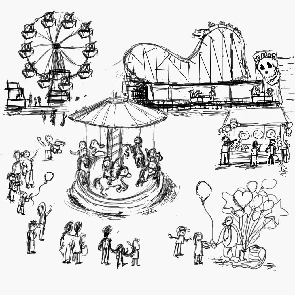Amusement Park clipart sketch