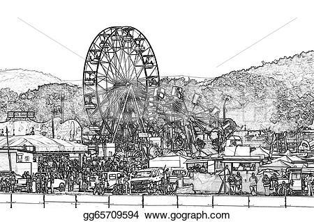 Amusement Park clipart sketch Clipart ferris illustration Stock Drawing