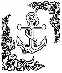Drawn anchor cross Kalóz Coloring Anchor Pages Pinterest