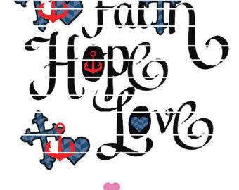 Anchor clipart faith hope love Etsy love eps Love Cricut