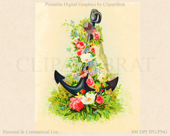 Anchor clipart floral Use digital Commercial a WATERCOLOR
