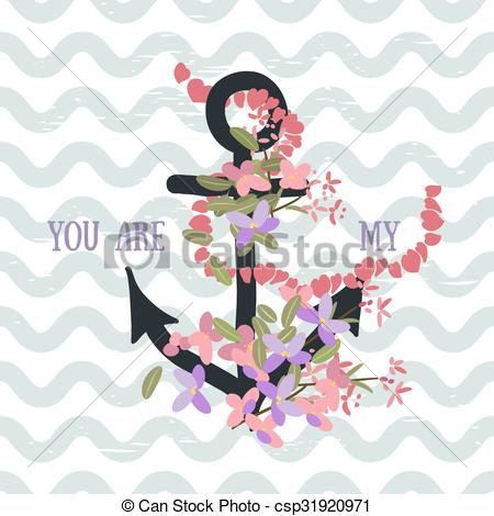 Anchor clipart floral Anchor with  and background