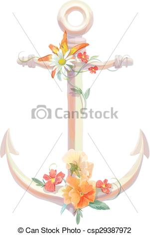Anchor clipart floral Vectors flowers design anchor lili