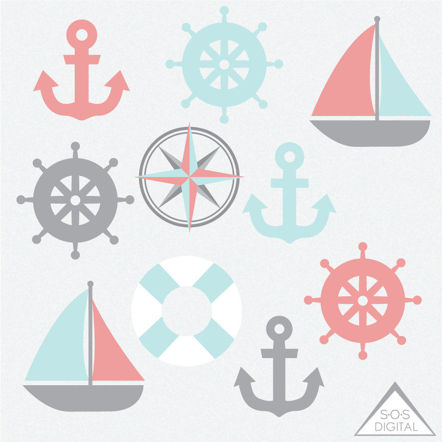 Mint clipart anchor And Clipart Anchor Coral Mint