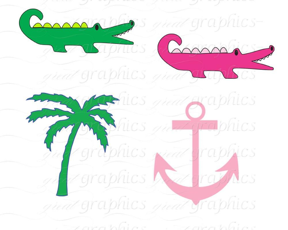 Alligator clipart head dress Preppy Whale Alligator Anchor Preppy