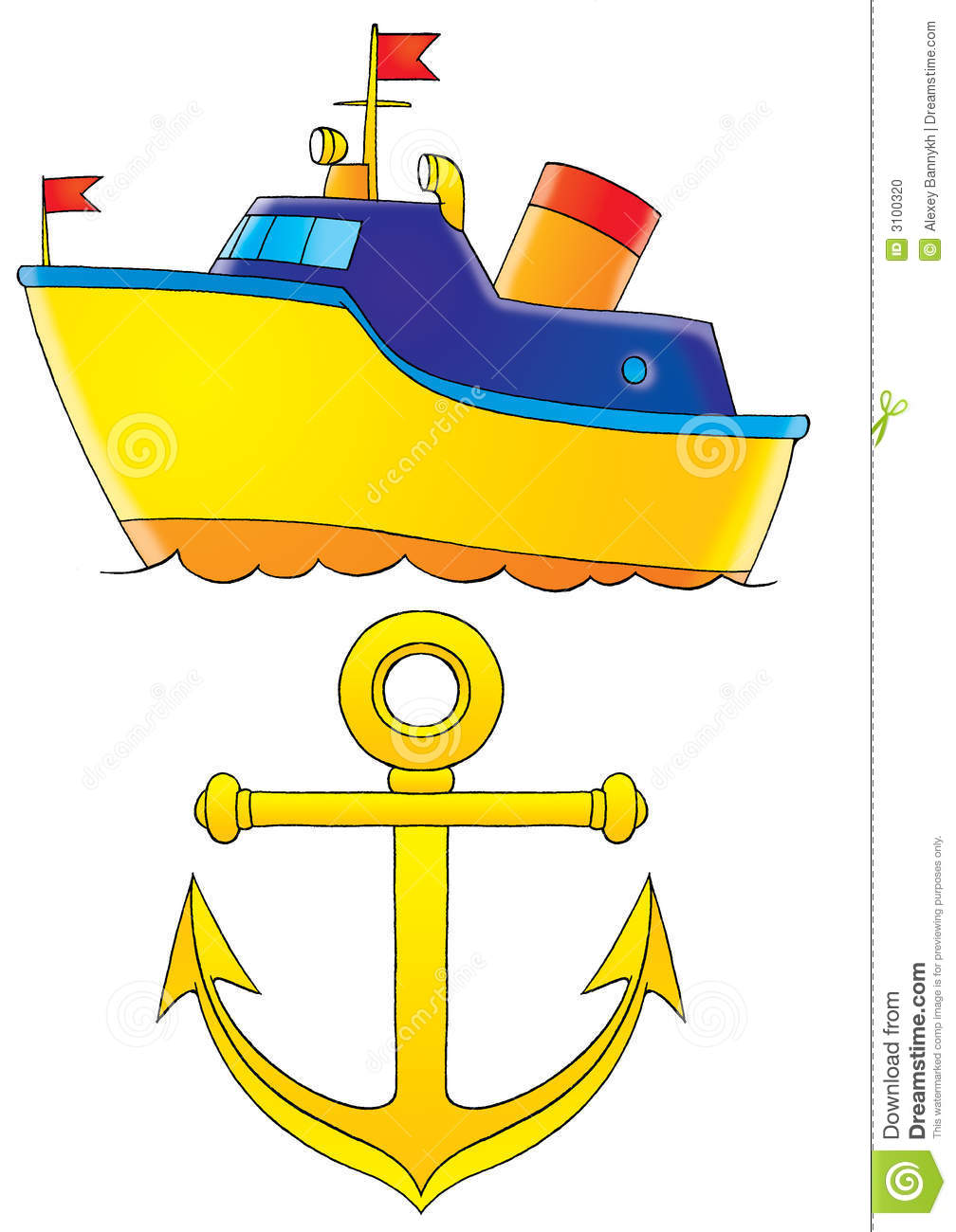 Yellow clipart ship Anchor collection Stock And boat