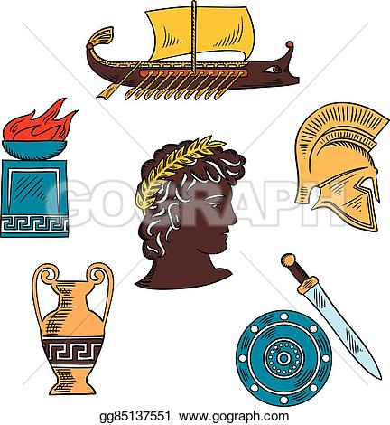 Ancient clipart roman forum Sword history and postament colorful