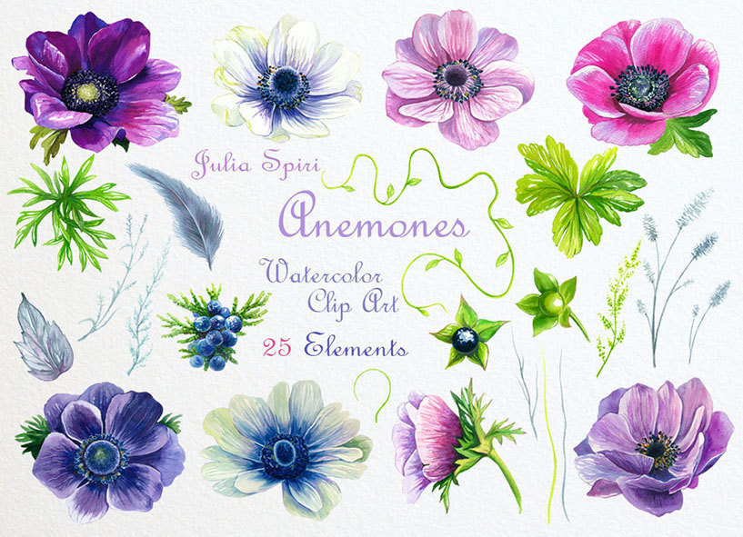 Blue Flower clipart anemone flower A digital Invitation Clipart Anemone
