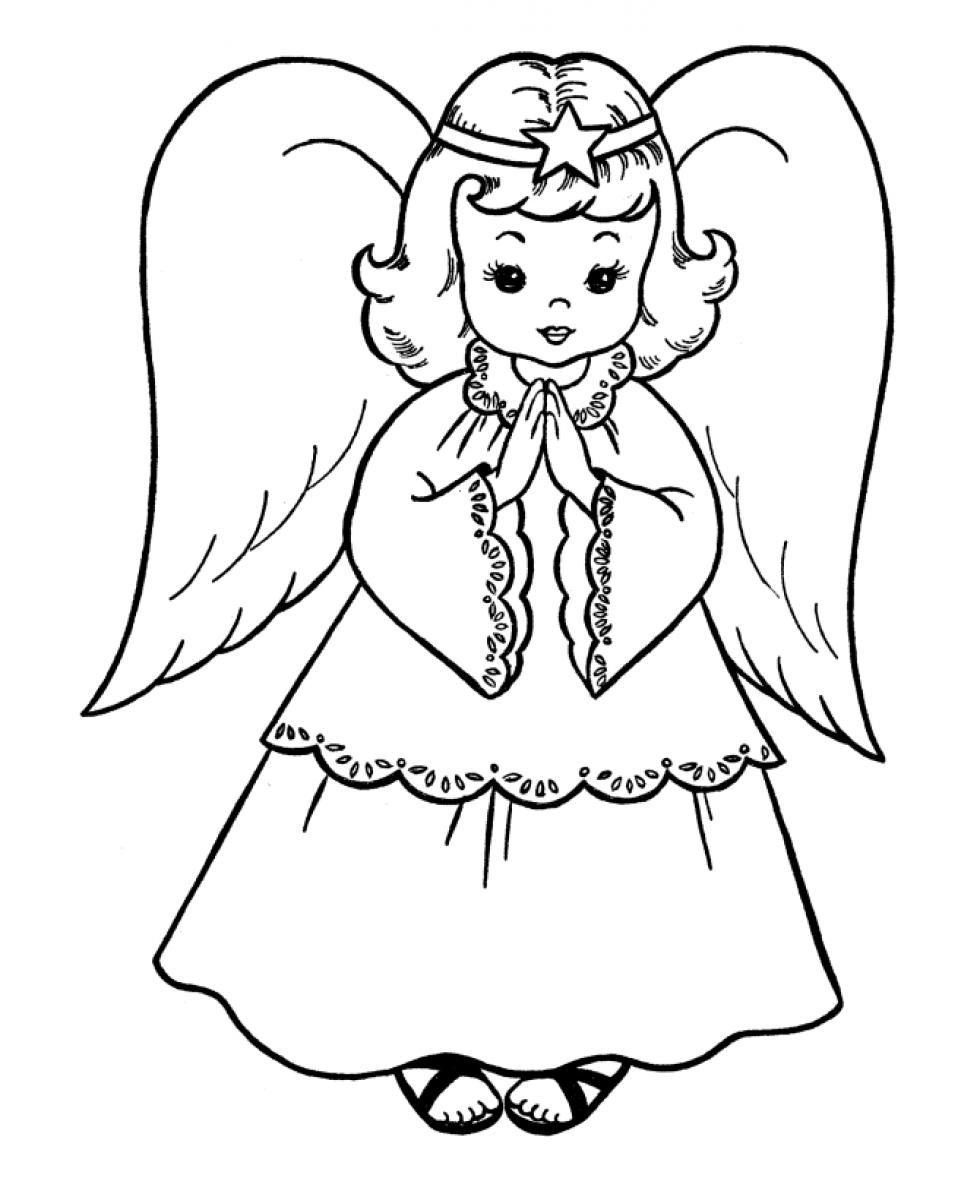 Angel clipart coloring page #15