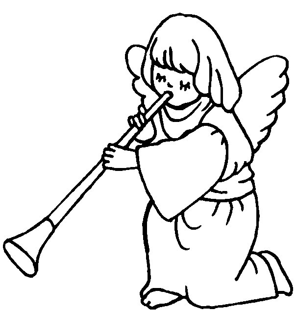 Angel clipart coloring page #12