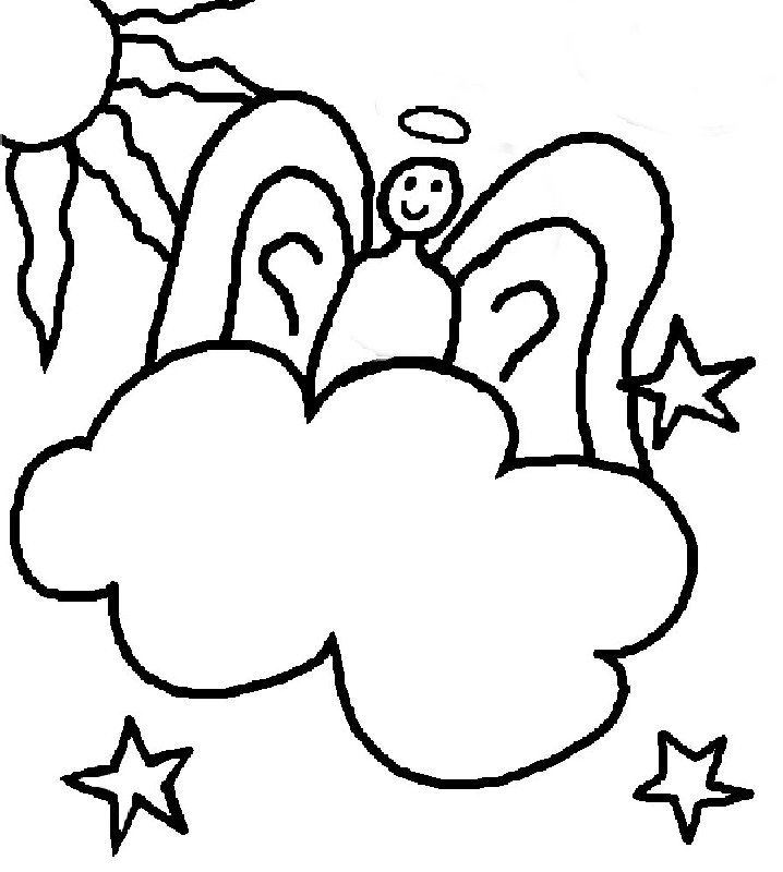 Angel clipart coloring page #11