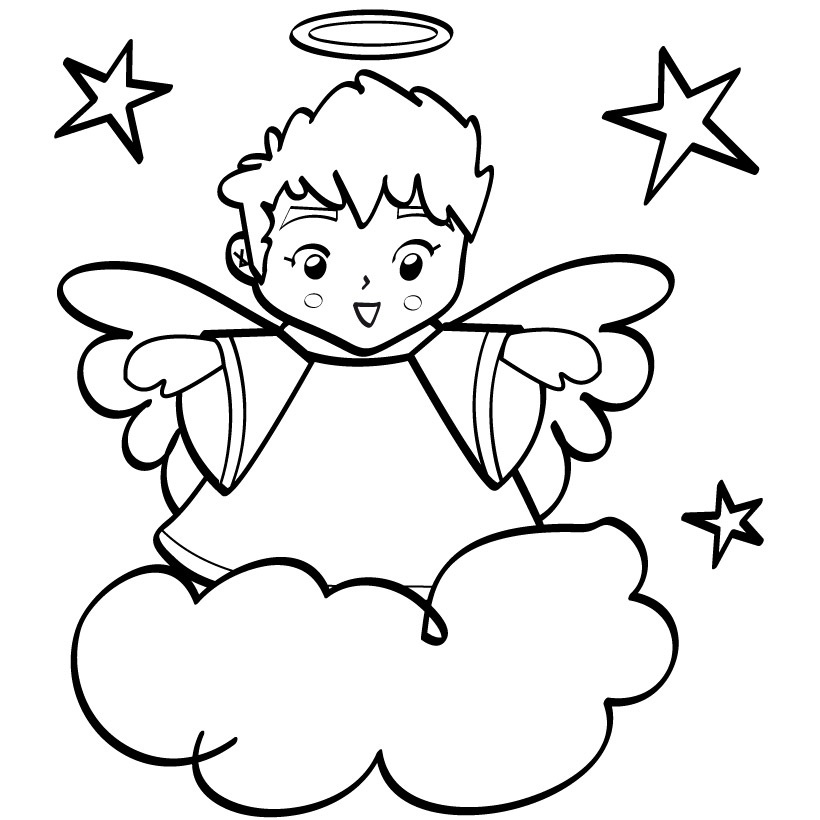 Angel clipart coloring page #10