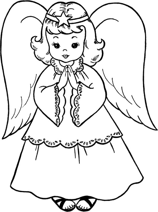 Angel clipart coloring page #14