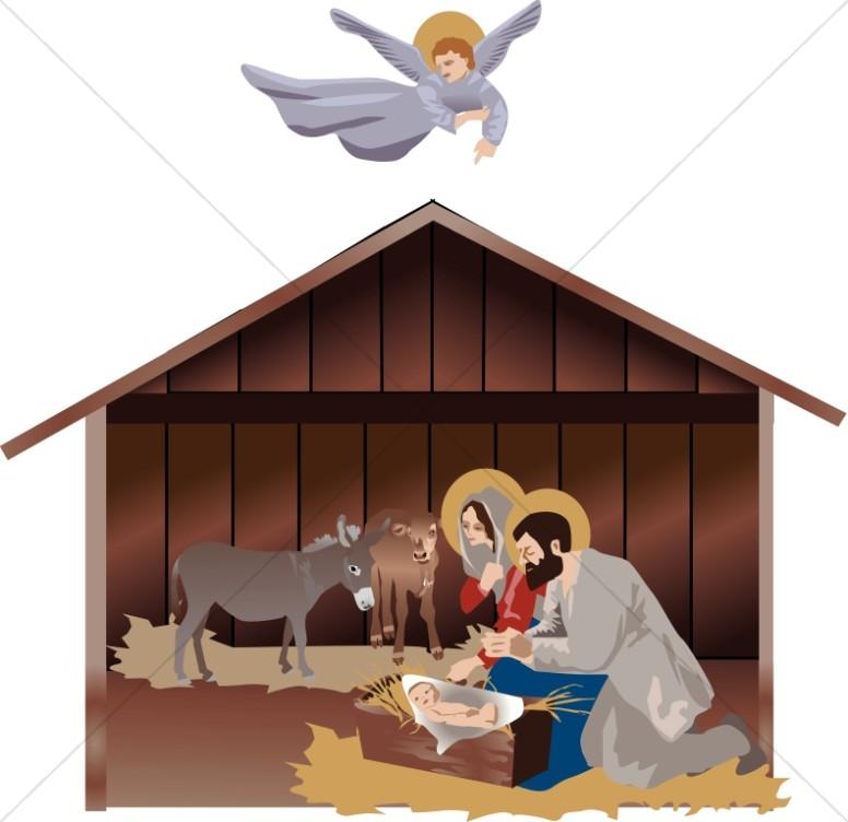 Angel clipart nativity scene With Scene Nativity Guiding Scene