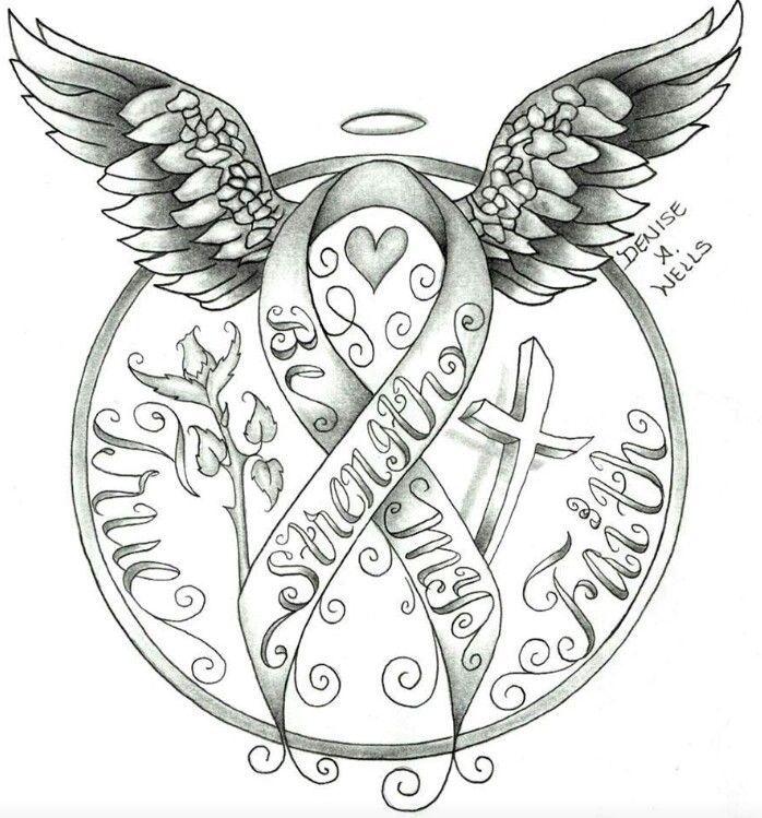Angel clipart ribbon Doodles Cancer Angel cancer Art
