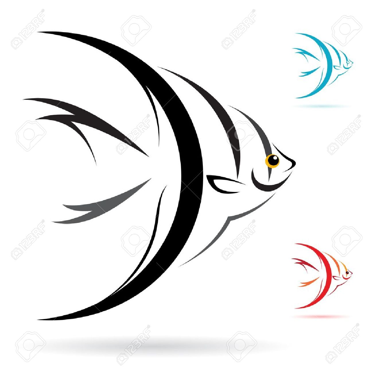 Angelfish clipart black and white And Angel Of Fish collection