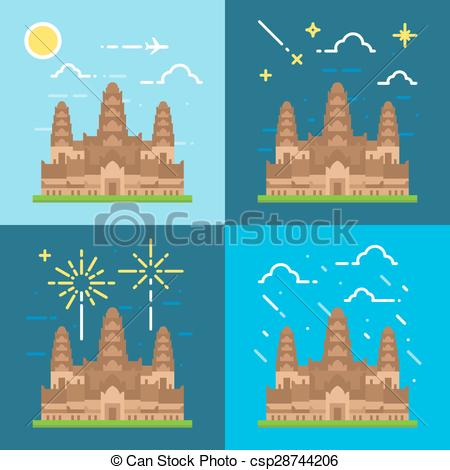 Angkor Wat clipart Styles of Vector Angkor of