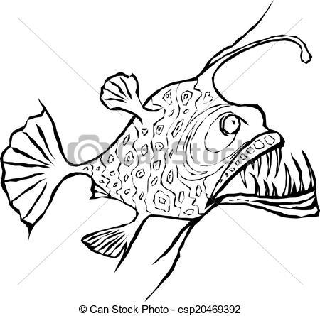 Anglerfish clipart black and white Of EPS design Angler fish
