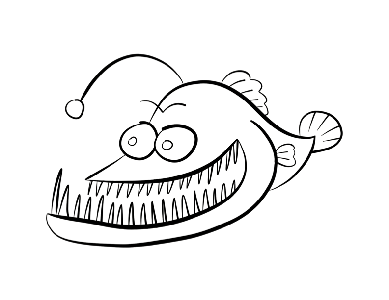 Anglerfish clipart black and white Fish 2) Colouring coloring pages