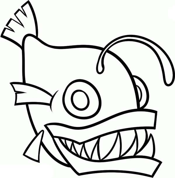 Anglerfish clipart black and white Children Fish Angler Page Coloring