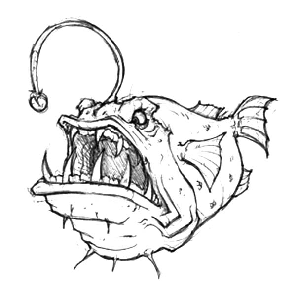 Anglerfish clipart puffer fish Fish Angry Coloring Angler Pages