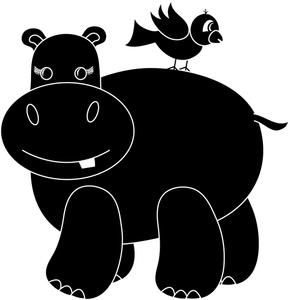 Black clipart hippo Silhouette Cartoon Cartoon Hippo Clipart