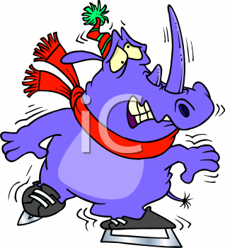 Animal clipart ice skating Picture Art Animal Skating Frightened