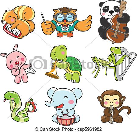 Animal clipart music Music Illustration play animal Vector