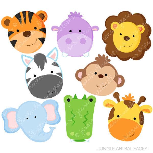 Animal clipart printable Digital Faces Clipart Jungle Animal
