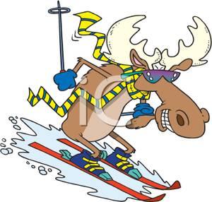 Animal clipart skiing Clip Moose Skiing Image Image