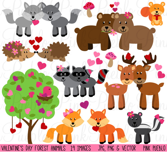 Animal clipart valentine Clipart clipart with note with