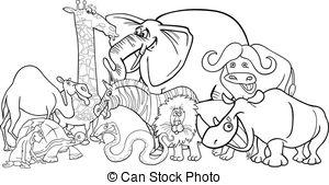 Animal Kingdom clipart black and white #9