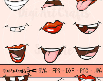 Anime clipart eye mouth SVG / lips clip /