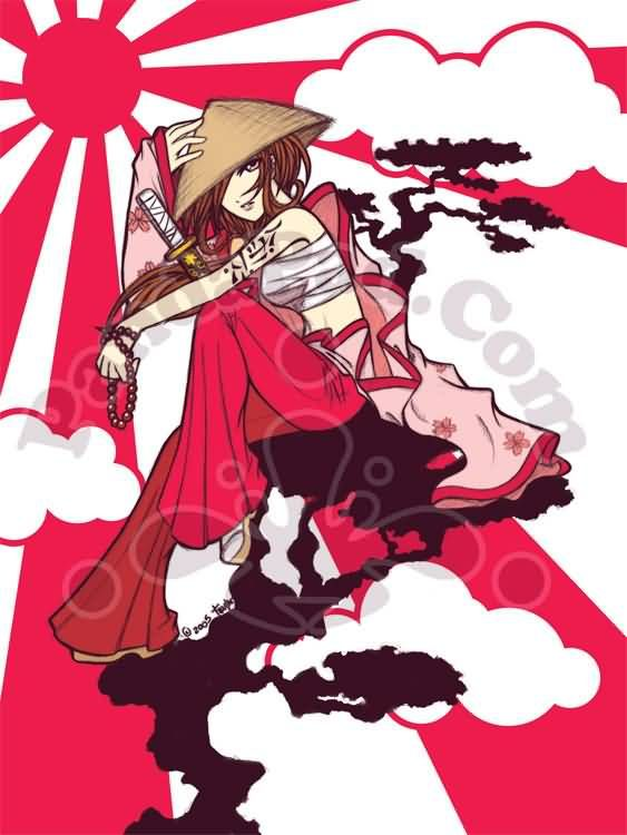 Anime clipart japanese samurai Pinterest Samurai images Girl Girl