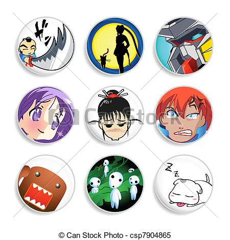 Anime clipart logo The Set Vector Clipart badges