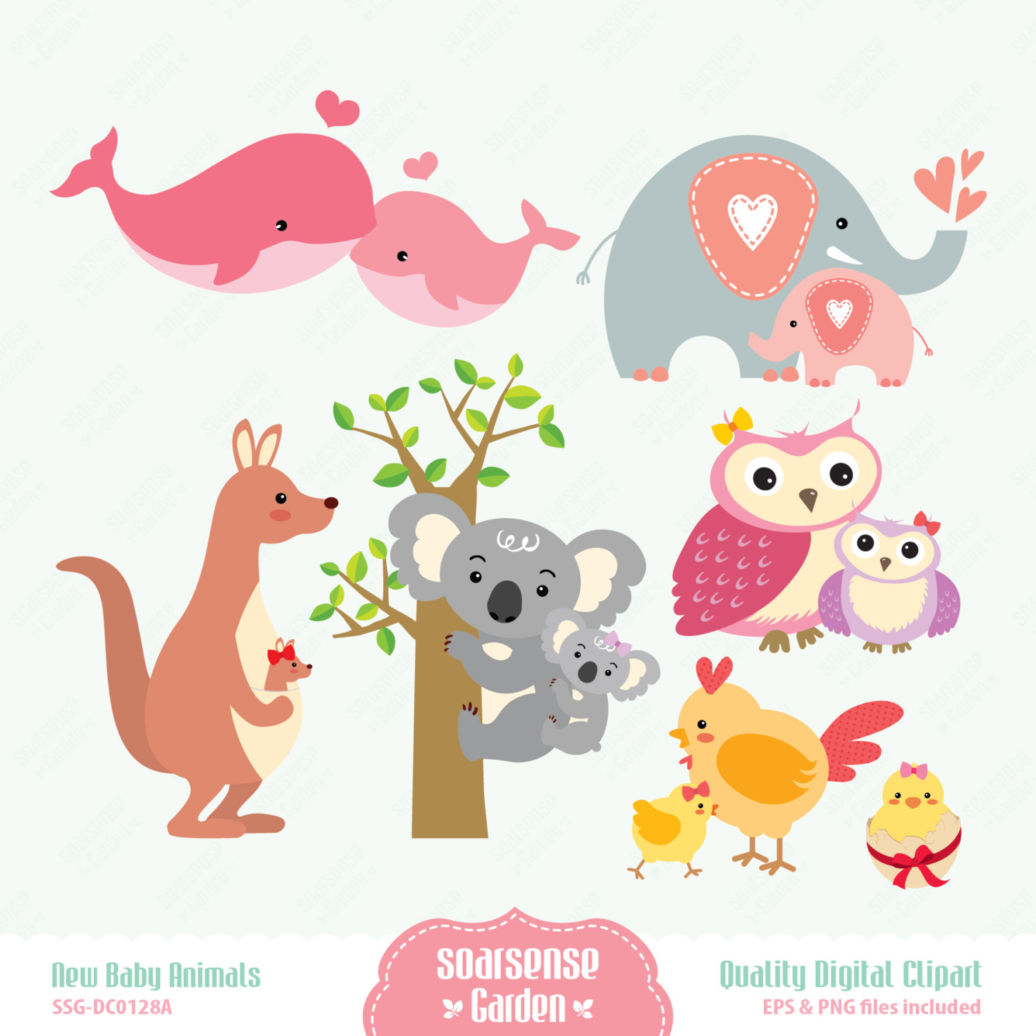 Animl clipart mother and baby And  Animals Mom Baby