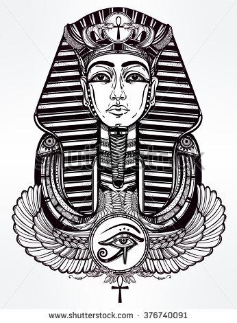 Ankh with vector pharaoh tattoo