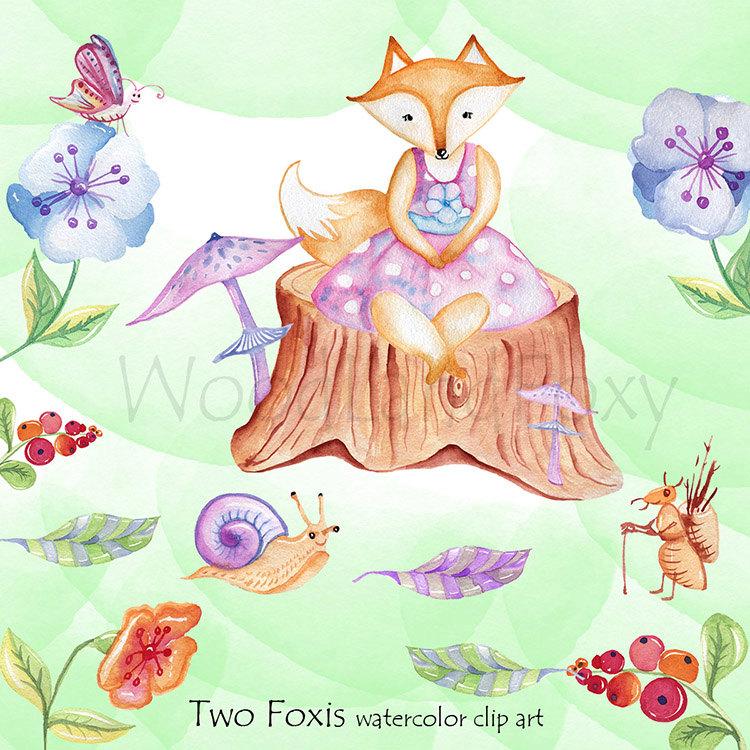 Ant clipart whimsical Woodland fox a digital Clip