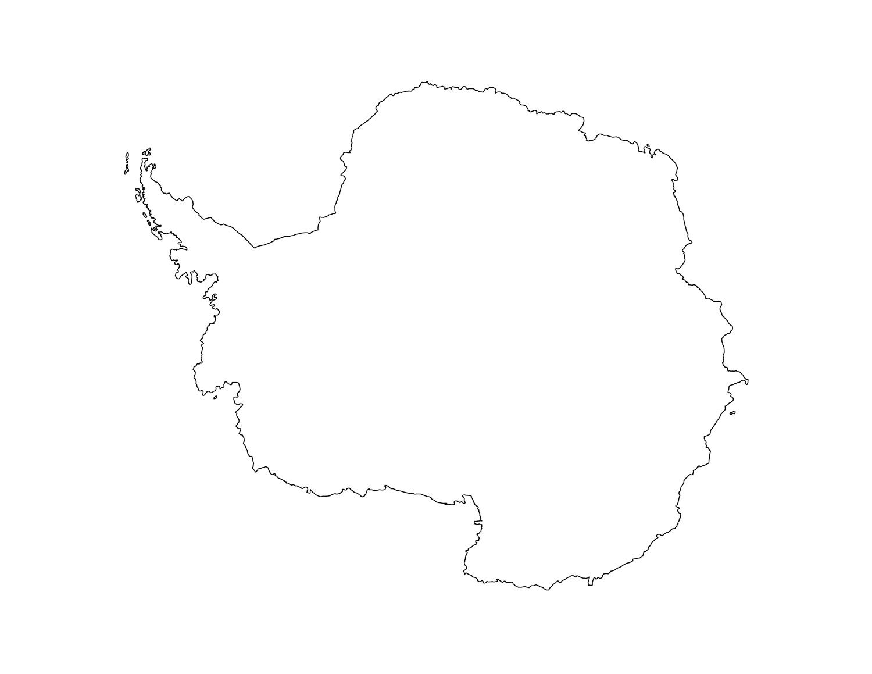 Antarctica clipart black and white Map Art clipart antarctica map