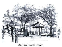 Antebellum clipart Market drawing city USA Illustrations