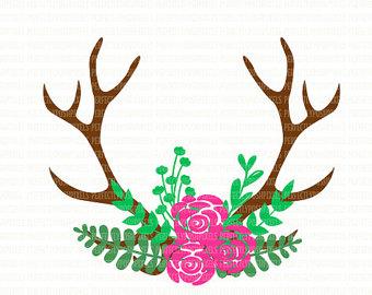Antler clipart Svg silhouette Deer art file