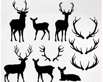 Peach clipart cut Art Antler Art Silhouettes Reindeer