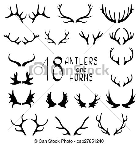 Drawn horns Isolated 18 horns on and