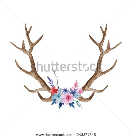 Drawn horns Vintage Watercolor deer deer