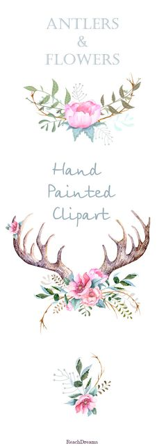Antler clipart printable Printable Printable clipart Watercolour and
