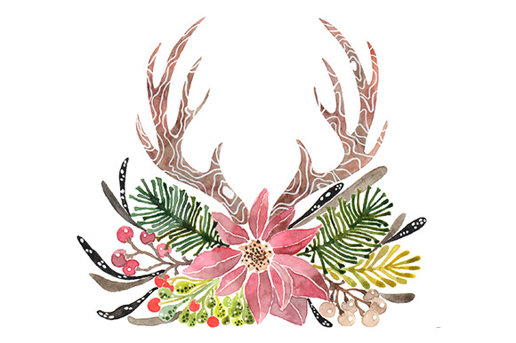 Antler clipart watercolor Watercolor Art Fonts Download Free
