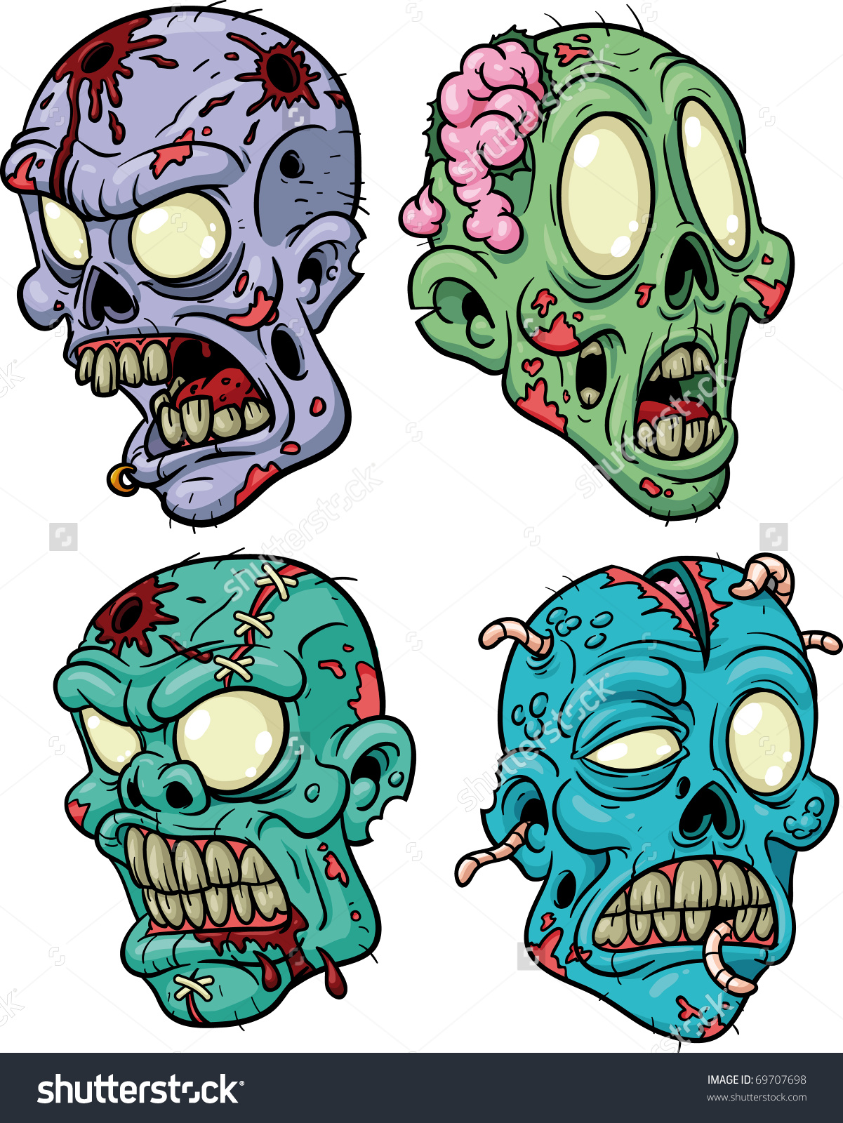 Apoclyptic clipart zombie head  vector four stock heads