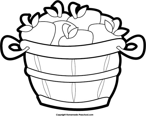 Drawn basket apple clipart black and white #9